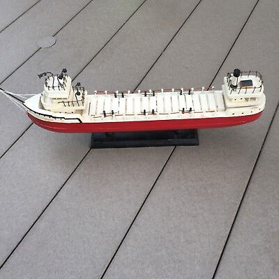 Vintage Folk Art Great Lakes Ore Boat Hand Made Wood Ship