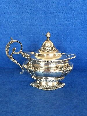 Beautiful  Antique Embossed Silver Mustard Pot with spoon