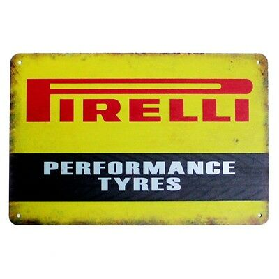 PIRELLI TYRES METAL TIN SIGN shed, garage, vintage plaque, shabby chic, UK