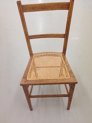 Vintage Wooden Chair With Woven Cane Seat