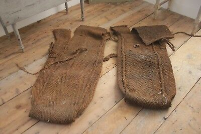 2 FOUR French Muscle SACK grainsack HEAVY Sisal LARGE   2 bags 1920's