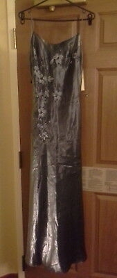DOLLAR USA GREY Silver Evening Cocktail Wedding Prom Dress NWT Size S Retail $75