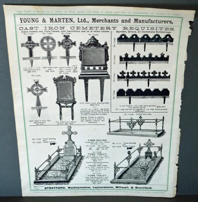 Vintage Architectural Advert ' Young and Marten Stratford 'Cemetary Requisites.