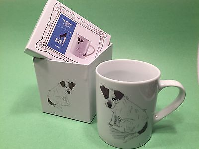 Magpie  Jo Clark Design SIT! Jack Russell Mug in Decorative Box - New Free Ship