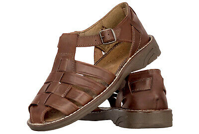 e7f13f6c5542 Men s Mexican Huaraches Real Leather Brown Sandals Strapped Closed Shoes