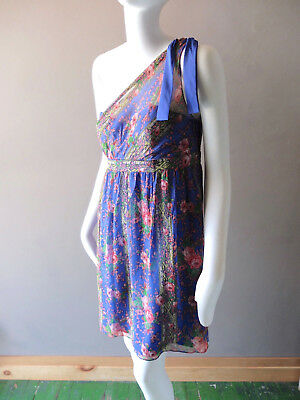 Betsey Johnson Summer Chiffon Floral Cocktail Dress sz 8 Empire Waist Prom Party