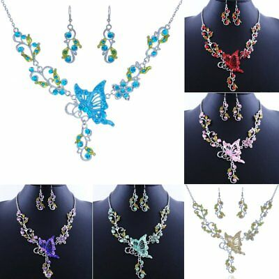 Wedding Bride Bridal Crystal Rhinestone Necklace Earrings Butterfly Jewelry Set