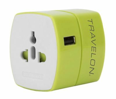 Travelon Universal Adapter with USB Charger (13251GREEN)