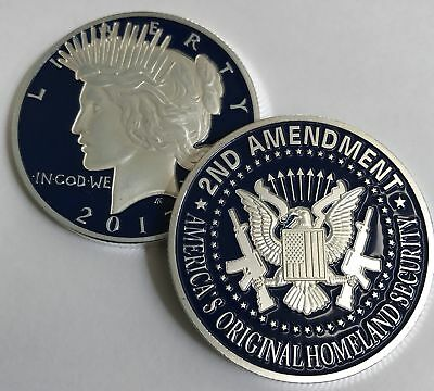 2nd Amendment SILVER & BLUE Liberty coin. One-of-a-kind Item for the Right to