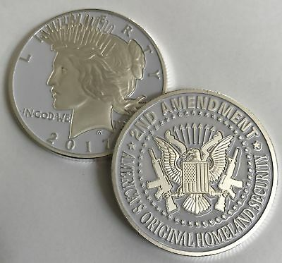 2nd Amendment SILVER & WHITE Liberty Coin. One-of-a-kin Item for the Right to