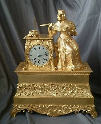 Antique french figural gilt bronze clock Pons 1827 medaille d'or