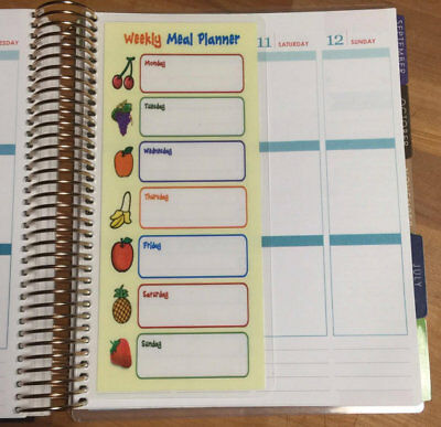 Weekly Meal Planner Two Sided Short Dashboard for use w/ Erin Condren Planner