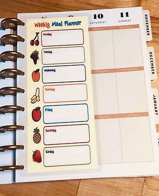 Weekly Meal Planner Two Sided Short Dashboard for use with Happy Planner