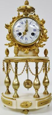 Antique French White Marble & Bronze 4 Pillar Bow Front Portico Mantel Clock