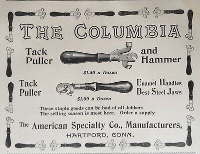 1895 Ad(28)~American Specialty Mfg. Co. Hartford, Conn. The Columbia Tack Puller