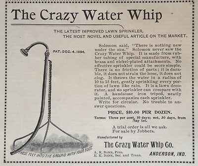 1895 Ad(28)~The Crazy Water Whip Co. Anderson, Ind. Whip Water Sprinkler