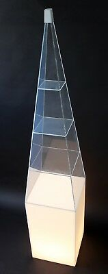 Mid Century Modern Lucite Triangle Top Light Up Display Case Shelving Unit 1970s