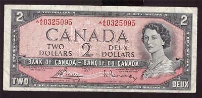 1954 Canada $2 Two Dollar banknote *A/G0325095 BC-38cA VG10 below 0400000