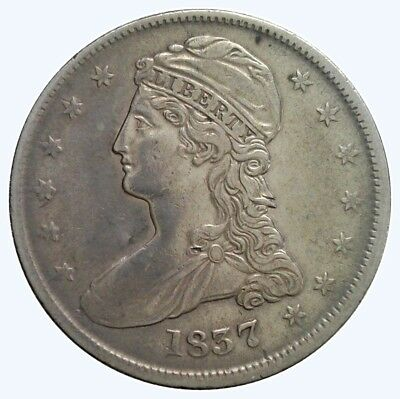 1837 50C Reeded Edge Capped Bust Half Dollar