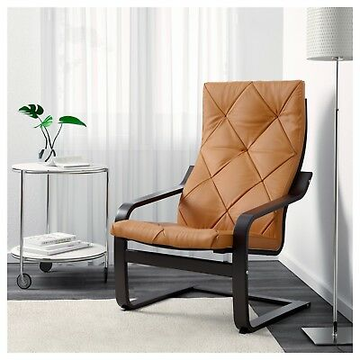 Ikea Poang Chair Cushion Cover Tufted Leather Seglora Natural New Discontinued