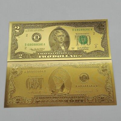 24 K GOLD FOIL 2 dollar bill new