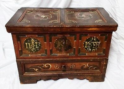 Rare 17th Century Polychrome Painted Cedar Monastic Table Chest