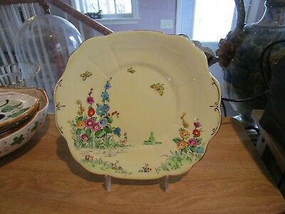 "CROWN STAFFORDSHIRE Hollyhock 9"" Square Cake Plate"