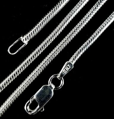 2MM Solid 925 Sterling Silver Italian ROUND SNAKE Chain Necklace Made In Italy