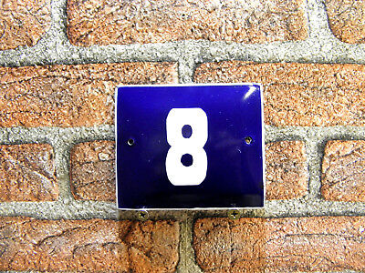 Vintage Sign House Door Number 8, Blue and White Enamel Metal Plate Authentic
