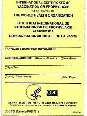 International Certificates of Vaccination - Pack of 5. Includes free covers.