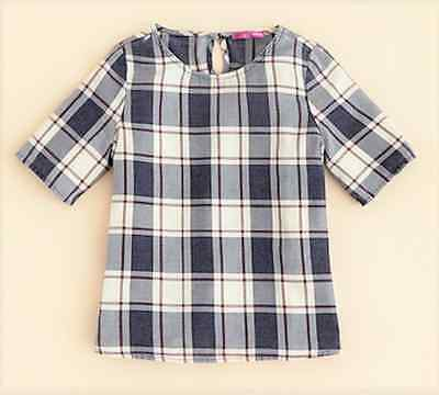 AQUA Girls' Plaid Shirt , Navy White Purple,Size L, MSRP $40
