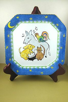 "pRESENT tENSE Anne Hathaway CHILDS SERVING PLATE Animals Music 8x8"" WALL HANG"