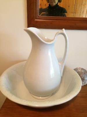 White Antique Wash Bowl and Jug