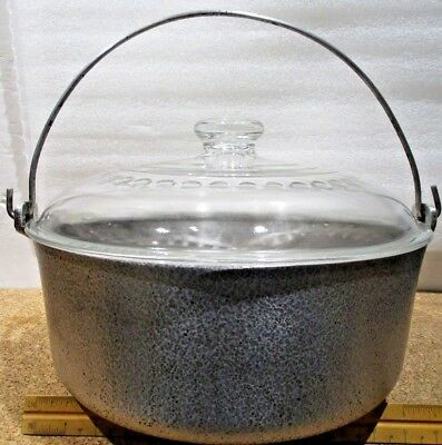 Club Aluminum Hammercraft 4 Quart Bail Handle Stock Pot w/ Wagner C-8 Glass Lid