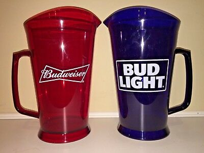 *NEW* BUDWEISER & BUD LIGHT - 60 oz BEER PITCHERS (RED & BLUE) - 2018 - Both