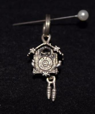 Vintage Sterling Silver 925 Cuckoo Clock & Moving Weights Charm Pendant (S525)