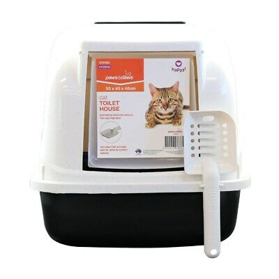 Hooded Cat House Litter Tray Pan Set Pet Kitten Toilet Box Scoop Paws n Claws LP
