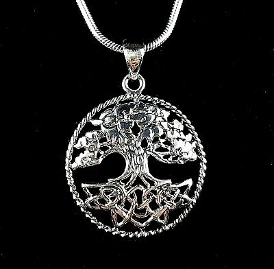 Handcrafted 925 Sterling Silver Celtic Knot Tree of Life Braided Wreath Pendant