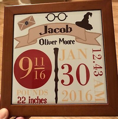 Harry Potter inspired, Personalised Baby Birth Announcement framed printed tile.