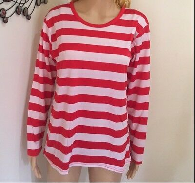 Adult Red and White Striped Top Shirt Costume Party Dress Up Long Sleeve Stripe