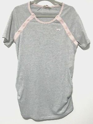Peter Alexander Womens Grey Pink Cotton Feeding Maternity PJ Top Size Small