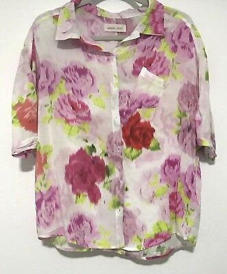 Peter Alexander Floral Button Front Short Sleeve Womens PJ Top Size Small