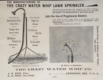 1895 Ad(28)~The Crazy Water Whip Co. Anderson, Ind. Whip Water Sprinkler-