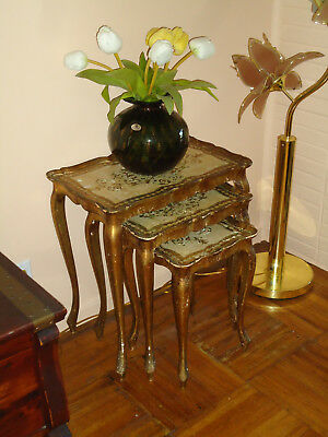 Antique Set of 3 Gold Gilt Nesting Florentine Style Wood Hand Painted Tables