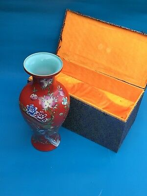 Chinese porcelain Red Flowers,Birds Vase 2FT Tall Qianlong Mark