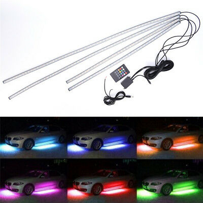 4X RGB LED Unter Car Tube Strip Unterboden Glow Neonlicht Kit WirelessControl SA