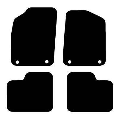 Tailored Black Car Floor Mats Carpets 4pc Set with Clips for Fiat 500