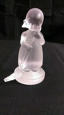 291A/ Frosted Glass M. J. Hummel Figurine Little Girl Sweeping Goebel