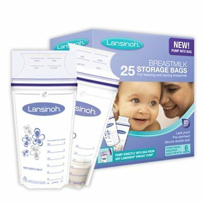 Breast Milk Storage Bag Pouch Mom Breastfeeding Sterilized Freezer 25 Pieces New