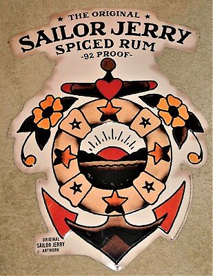 SAILOR JERRY Spiced Rum ANCHOR w/ LIFE RING & SUN Embossed TIN SIGN (Nice+)